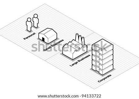 Vector Business Size Classification Icons - stock vector