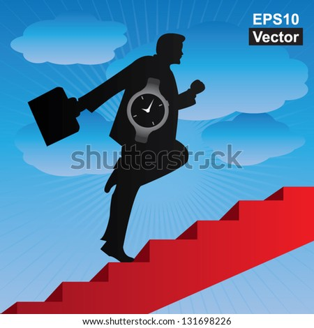 Vector : Business Solution and Time Management Concept Present By The Businessman With Time Watch Walking Upstairs for Best Vision in His Business in Blue Sky Background - stock vector