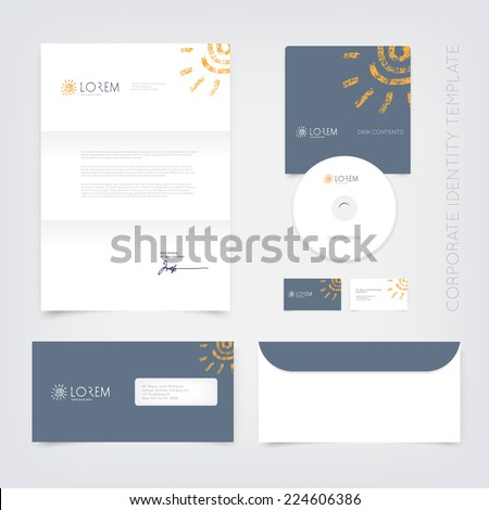 Vector business stationary design template with hand drawn cute grungy spiral sun logo, gray background. Letter, envelope, cd and business cards. Modern branding collection. - stock vector