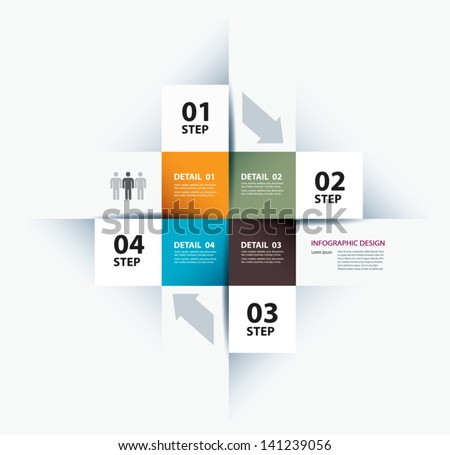 Vector business step paper data and numbers design template - stock vector