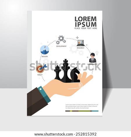 Vector business strategy concept book cover design template