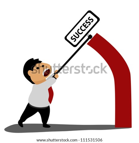 Vector - Business success and businessman.Concept :Catching a success. - stock vector