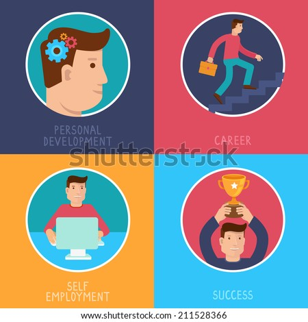 Vector business success concepts in flat style - career from personal development to success - infographic design elements on horizontal banners - stock vector
