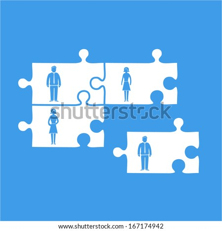 Vector business team building pictogram icon | flat design infographics template white on blue background - stock vector