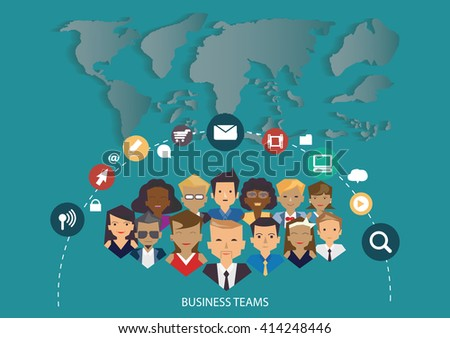 Vector business team. group of office workers.World map communications icons.Flat design. - stock vector