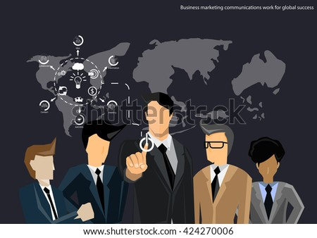 Vector business teams work to communicate trade ideas, marketing, negotiation, dialogue, collaboration, flat design  - stock vector