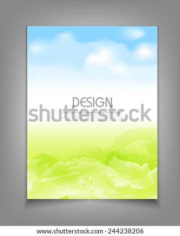 vector business template with blue sky and green grass - stock vector