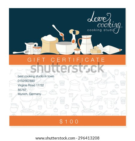 Vector Business Template With Hand Drawn Kitchen Utensils Illustrations.  Cooking Studio, Restaurant Or Cafe  Cooking Certificate Template