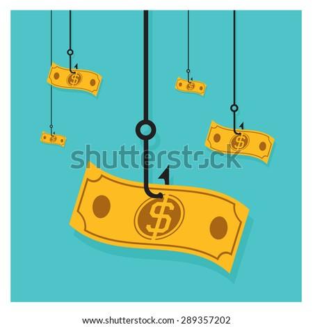 vector Business Vector hook icon dollar cash pile of money  - stock vector
