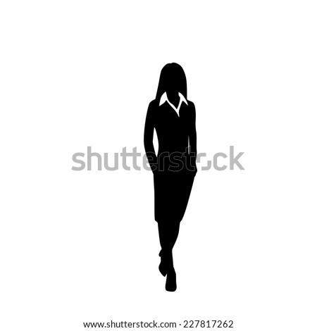 vector business woman black silhouette walk step forward full length over white background vector illustration - stock vector