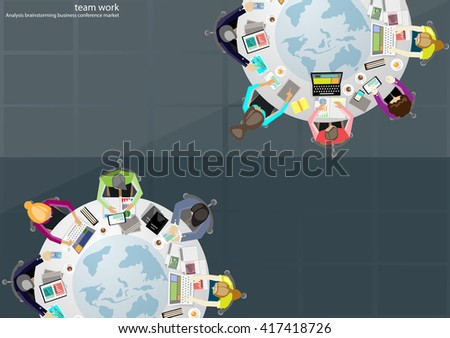 Vector business work places , teamwork, brainstorming, business analysis, marketing plan, a map of the world,  paper files, mobile notebooks, tablets and a cup of coffee flat design