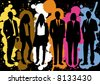 vector - businessman and businesswoman team, brillant people with different personality standing in a splat graphic background - stock vector