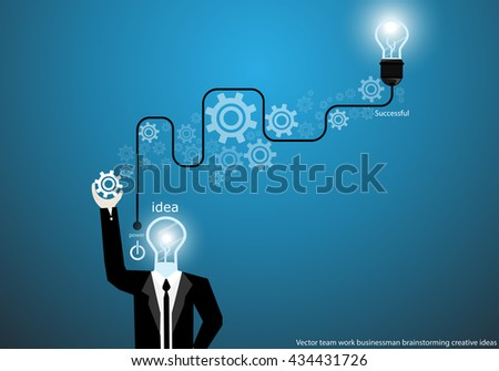 Vector businessman brainstorming creative ideas with bulb brain cogs flat design
