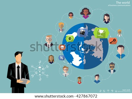 Vector businessman brainstorming ideas for communicating global trade flat design - stock vector