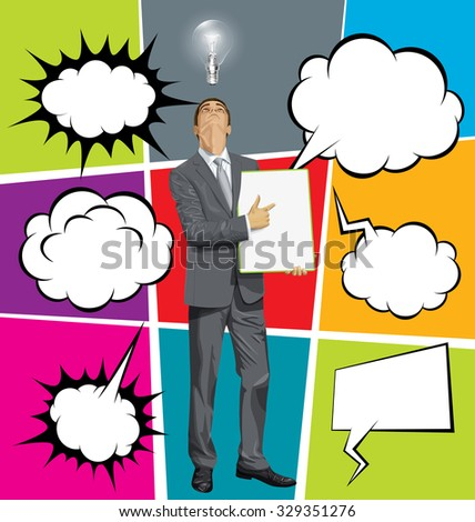 Vector businessman holding empty write board, looking up, set of comics style speech and thought bubbles - stock vector