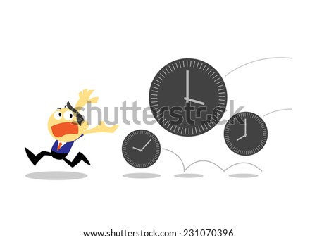 Vector Businessman Run Away from Times, Time Management concepts - stock vector