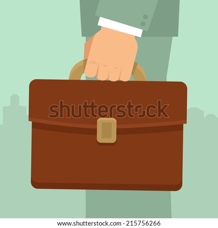 Vector businessman's hand holding briefcase - business concept in flat style - stock vector