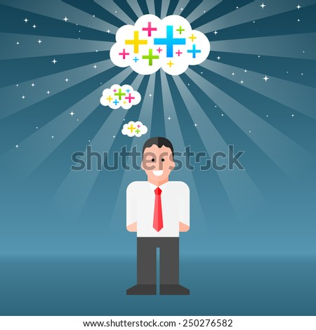 Vector Businessman Thinking Positive Thoughts. EPS10 - stock vector