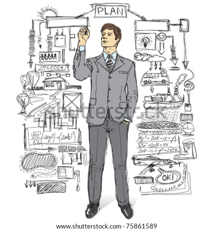 vector businessman writing something on glass board with marker