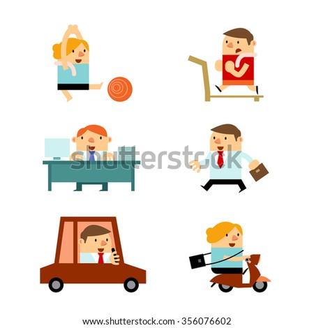 Vector Businessmen and Businesswomen in Various Activities. - stock vector