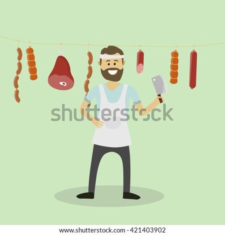 Vector butcher. Meat seller - stock vector
