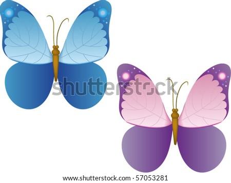 vector butterflies - stock vector