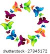 Vector butterflies on the circle - stock vector