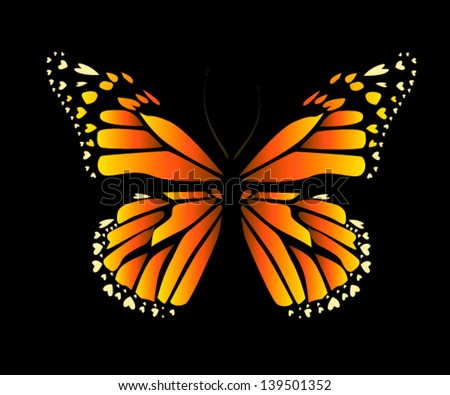 vector butterfly with hearts on wings - stock vector