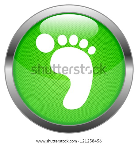 Vector Button Green Carbon Footprint - stock vector