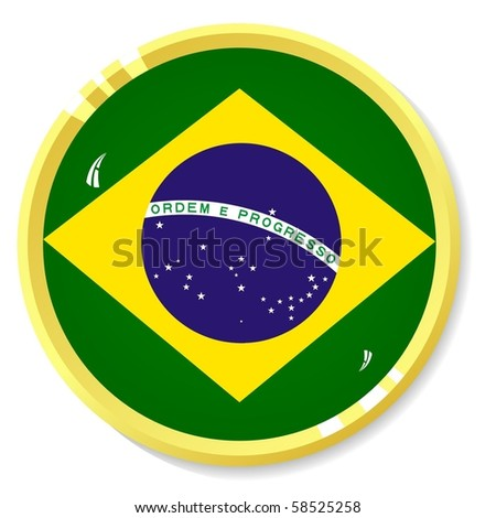 vector button with the national flag of Brazil - stock vector