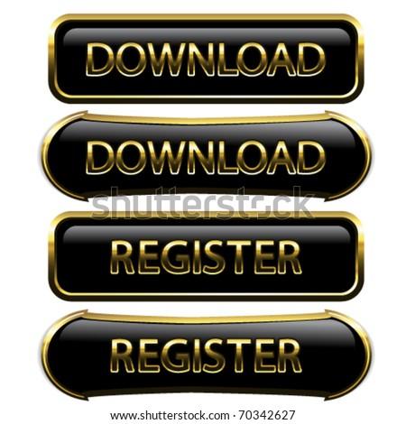 Vector buttons - download, register - stock vector