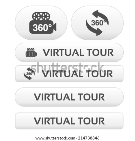 Vector buttons for virtual tour, white labels - stickers with arrows and camera
