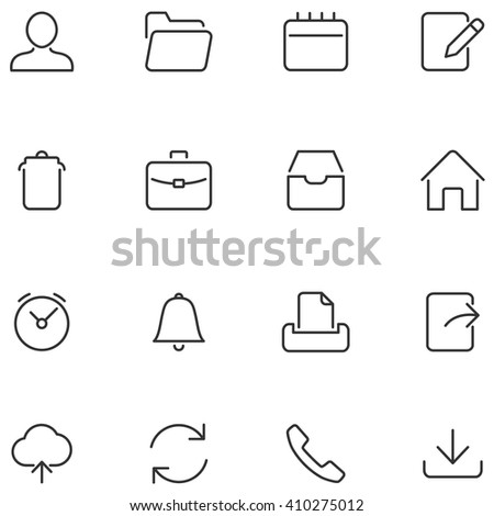 Vector buttons for web interface and mobile applications. Set simple icons. - stock vector