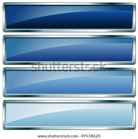 vector buttons in blue colors - stock vector