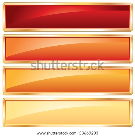 vector buttons in hot colors with golden frame - stock vector