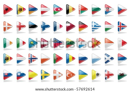 Vector Buttons Set with European Flags - stock vector