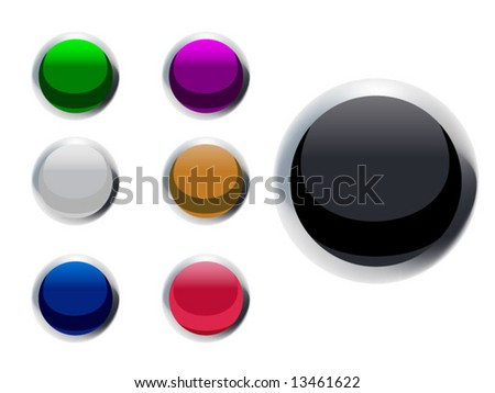 Vector Buttons with a Chrome metal rim - stock vector