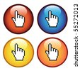 Vector buttons with cursor of hand - stock vector