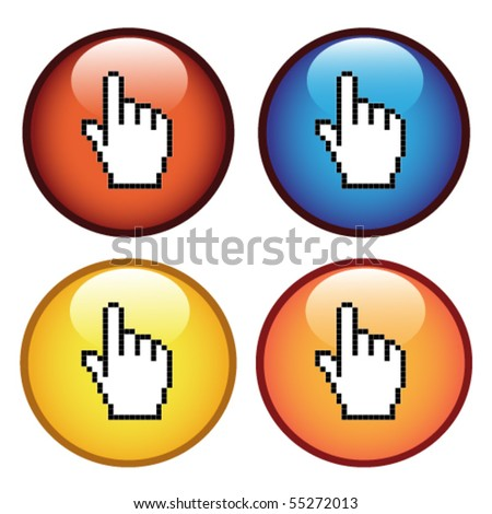 Vector buttons with cursor of hand