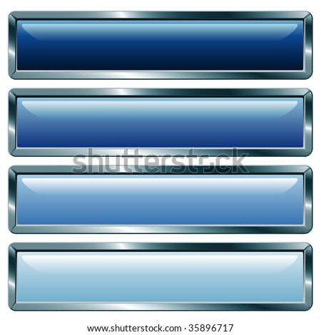 vector buttons with metallic frame, blue collection - stock vector