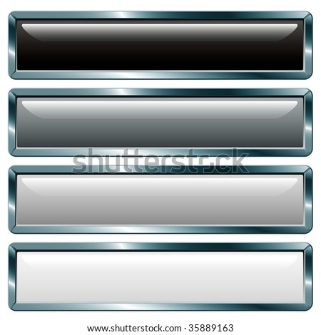 vector buttons with metallic frame, gray collection - stock vector