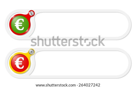 vector buttons with screw and euro symbol - stock vector