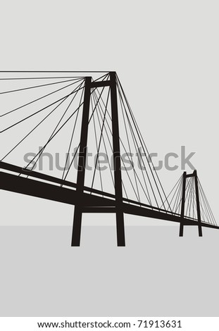 Vector cable-stayed suspension bridge - black silhouette, illustration on grey background