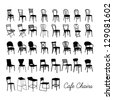 Vector cafe chair collection, silhouette cafe chairs - stock vector
