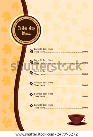 vector cafe menu,vector coffee shop menu,vector background useful for designing covers or restaurant or coffee shop menu,coffee shop symbol - stock vector