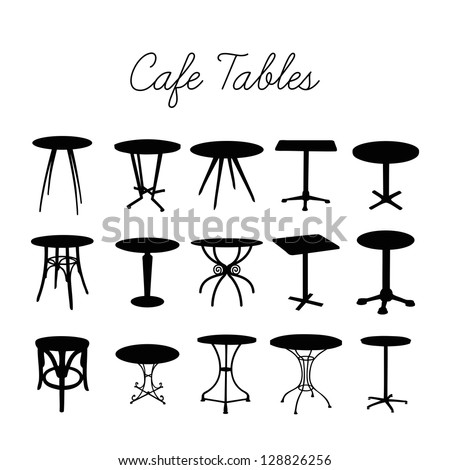 Vector cafe table collection, silhouette bar stools - stock vector