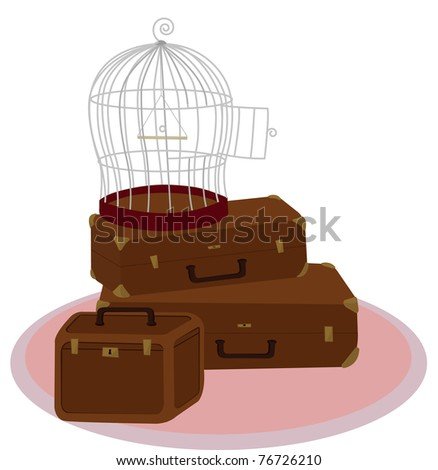 vector cage and suitcase - stock vector