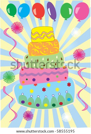 vector cake and balloons