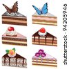 vector cake slices with fruits, chocolate, butterflies and flowers - stock vector