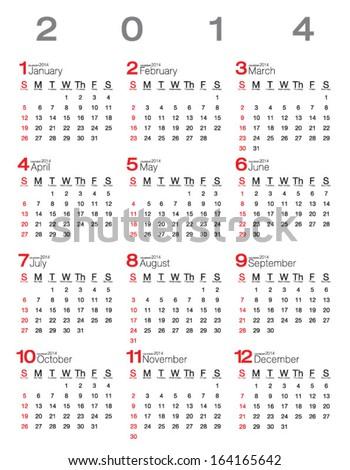 Vector calendar 2014 - stock vector